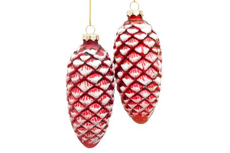 fir cones: Two glassy red fir cones isolated on white background