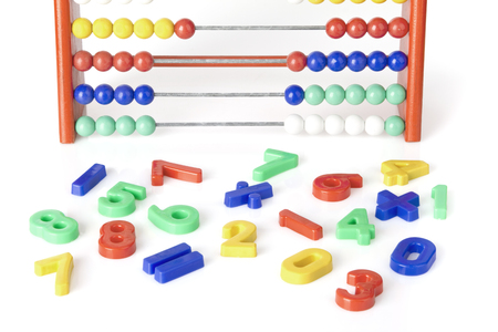 close-up of multicolored numerics with abacus
