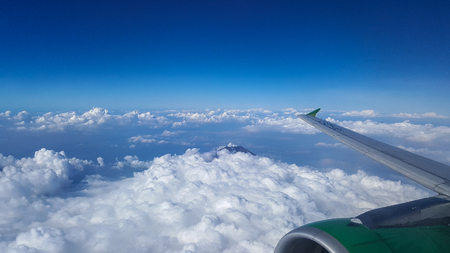 this is merapi mountain form the sky, capture from plane Stock Photo