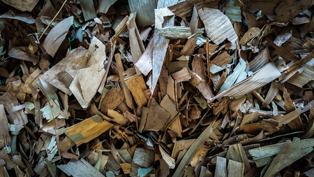 dry leaf litter collected ready to be dumped into landfills Stock Photo
