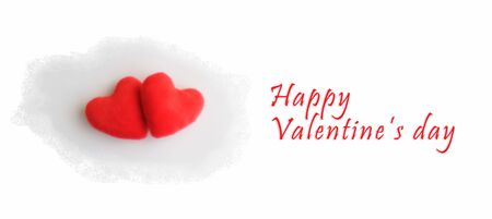 Cut out love symbol with two hearts for valentines day and greeting happiness photo