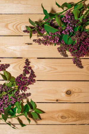 Lilac flower on woody background, spring mood, natural texture 写真素材 - 101407796
