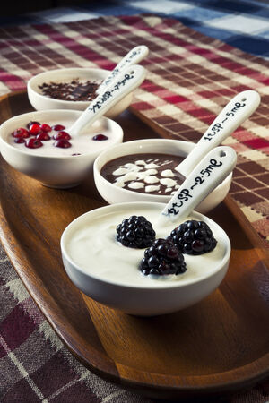 Closeup cream dessert with chocolate and berries in white porcelain bowls on wooden plate with ceramics measuring spoons  Checkered tablecloth  photo