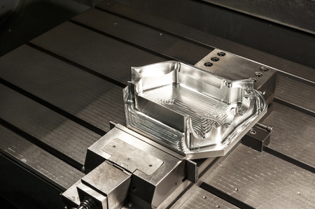 Industrial metal mold blank. Metalworking. CNC milling technology. Archivio Fotografico