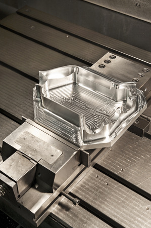 punch press: Industrial metal mold die. Metalworking. CNC milling industry. Stock Photo