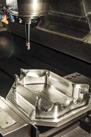 Industrial metal mold milling. CNC and lathe industry. Metalworking. Archivio Fotografico