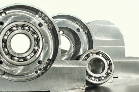 Mounted roller bearing unit CNC technology  Milling lathe and drilling industry  Metalworking  Mechanical engineering  Indoors closeup  photo