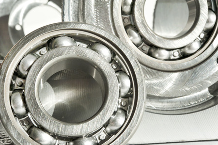 chrome base: Metal bearings  CNC technology, machining, milling lathe and drilling industry  Mechanical engineering  Metalwork  Closeup