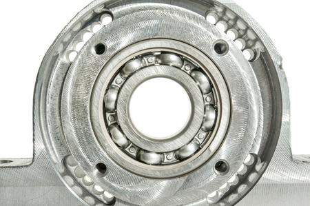 chrome base: Metallo montato unit� cuscinetto a rulli tecnologia CNC. Fresatura tornio e l'industria di perforazione. Lavorazione dei metalli. Industria meccanica. Primo piano Ambientazione interna.