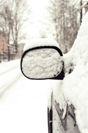snow capped: Espejo de coche nevadas exterior