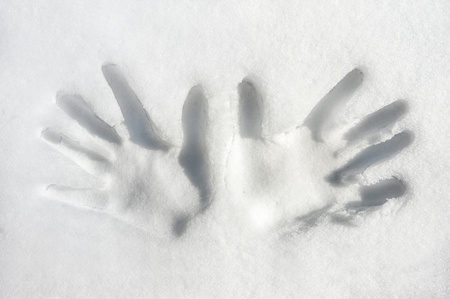 empty handed: Print of both palms hands on snow surface  Outdoors  Closeup