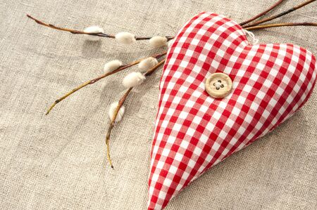 Homemade sewed red cotton love heart with spring willow twig. Indoor closeup. photo