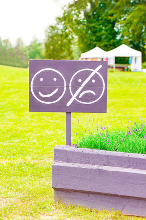 dont worry: Keep smiling! Dont worry be happy! Wooden board with smiley face emotion near lavender flowerbed . Outdoors.