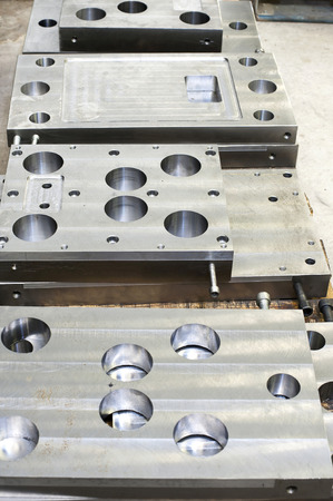 punch press: Punch press tooling. Steel detail of lathe and milling technology. Metal engineering industry. Stock Photo