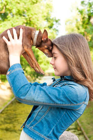 toyterrier: Unconditional love. Teenage girl with brown toy-terrier dog. Multicolored summertime outdoors image.