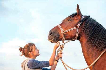Young cheerful teenage girl stroking big chestnut horses nose. Vibrant multicolored summertime outdoors horizontal image.