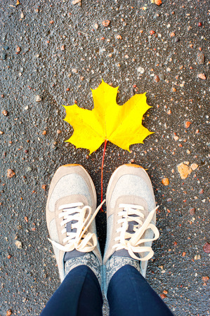 personal point of view: Fall in the city. Modern sneakers with one yellow autumn maple leaf on asphalt road. Multicolored outdoors vertical image. Stock Photo