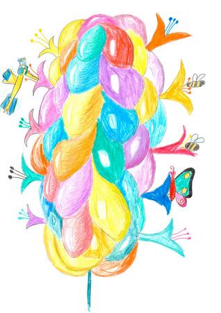 musca: Fairytale fantastic juicy bubble flowers. Kids vertical multicolored pencil drawing.