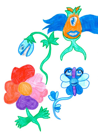 toothy: Fairytale wild toothy surreal fantastic flowers. Kids vertical multicolored drawing.