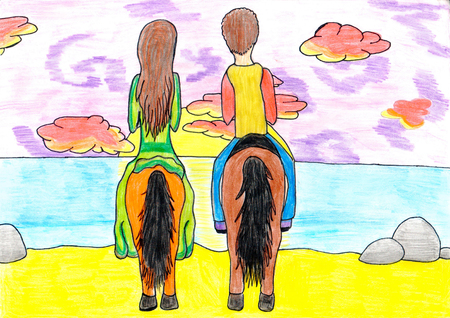 teenagers love: Girl and boy loving couple riding horseback together on sunset. Kids multicolored horizontal pencil drawing. Stock Photo