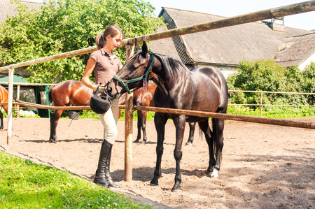 trusting: Young cheerful teenage girl-equestrian stroking big chestnut horse. Vibrant multicolored summertime outdoors horizontal image.