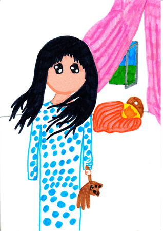 only one girl: Beautiful little girl with black hair in pajamas standing in her room holding bear-toy. Vibrant multicolored horizontal pencil kid drawing. Stock Photo