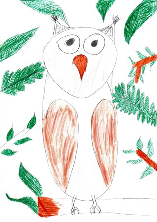 eagle owl: Eagle owl sitting on brown tree branch. Multicolored vertical pencil kid drawing