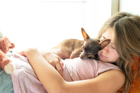 toyterrier: Sweet dreaming. Young girl in pyjamas sleeping holding her lovely little brown Toy-terrier dog in rays of sunlight. Multicolored vibrant horizontal indoors image with filter. Stock Photo
