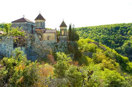 kutaisi: Motsameta monastery in green mountains near Kutaisi Svaneti Georgia in springtime. Colorful vibrant outdoors horizontal image.