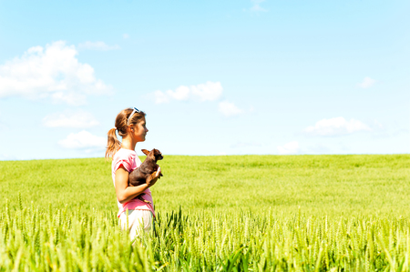 Young teenage girl in wheat field holding her lovely little toy-terrier dog contemplating the nature. Multicolored vibrant outdoors summertime horizontal image with cloudy sky background. Stock Photo