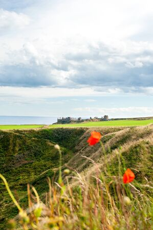 dunnottar castle: Dunnottar castle and ravines with dramatic cloudy sky. Panoramic view from highlands. Scotland. Uk. Aberdeen. Multi-colored summertime outdoors vertical image. Stock Photo