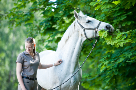 Pretty young blondy cheerful teenage girl equestrian standing with her favorite white horse eating green maple leaves  in summer park. Vibrant colored outdoors horizontal image. Stock Photo