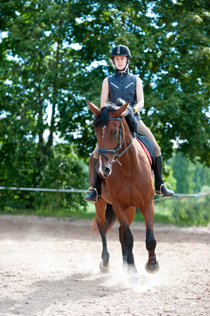 Training process. Young teenage girl riding bay horse on arena at equestrian school. Colored outdoors vertical summertime image. Reklamní fotografie