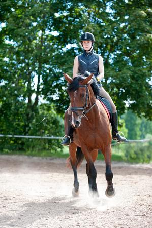 Trainingsprozess. Junge Teenager-Mädchen Reiten Bay Horse auf Arena in der Reitschule. Farbiges vertikales Sommerzeitbild im Freien. Standard-Bild