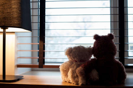 Two embracing loving teddy bears toys looking at winter view sitting together on wooden window-sill at cozy romantic evening. Indoors horizontal colored image with filter. Interior design.