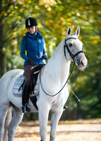 Equestrian lady riding white horseback in autumn alley. Vibrant colored outdoors vertical fall season image with filter Archivio Fotografico