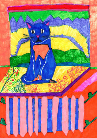 Funny fairytale dark blue cubic cat sitting on beautiful coloured carpet with floral pattern. Child's drawing. Vertical image illustration.