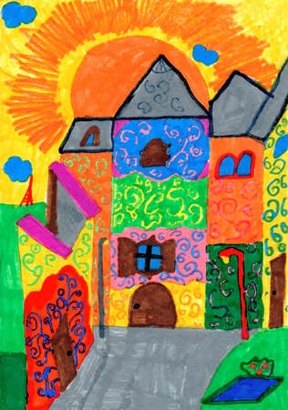 Majestic beautiful colored fairytale castle with lighting lanterns and eiffel tower sun and clouds on background. Vibrant coloured vertical kid's pencil drawing. Archivio Fotografico