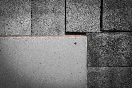 squalid: Cement slab on brick box Stock Photo