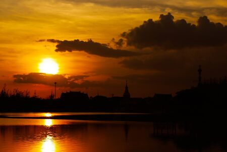 Sunset at Nongprachak Park, Udonthani, North-east of Thailand