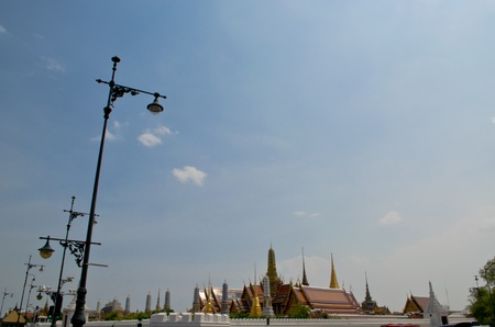 The grand palace of Thailand with classic black electricity posts, Bangkok