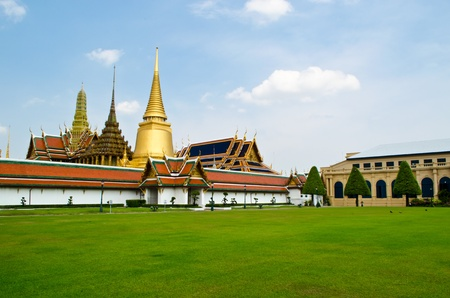 the grand palace with the grass field, Bangkok