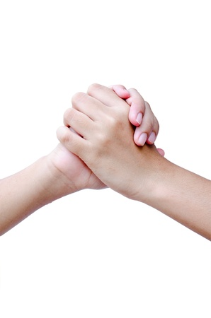 Isolated two hands hold on each other