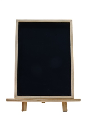 A vertical cholkboard with a wooden frame and stand photo