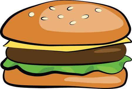 A hamburger consisting of a layer of meat, cheese and lettuce