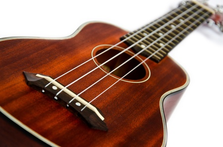 Isolated close-up of brown wooden ukulele