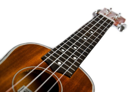 Isolated close-up of brown wooden ukulele neck