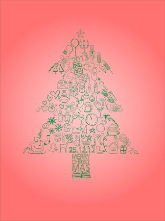 Green Christmas tree consisting of Christmas symbols with the light-red background Stock Vector - 16313133