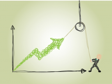growing money: a business man use a hoist to lift the arrow up indicating the growth of a business Illustration