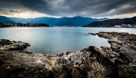Lake Kawaguchiko in a cloudy day